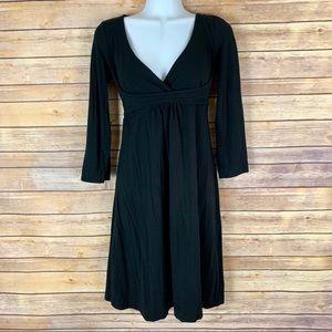 3/$30 Anthropologie Ric Rac Black 3/4 Sleeve Dress